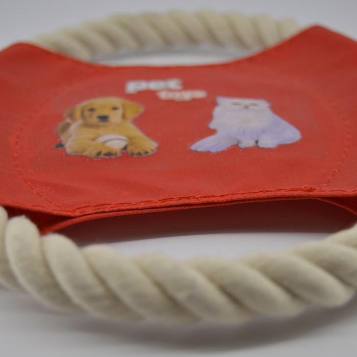 Piros kötélből készült frizbi kutya játék 2