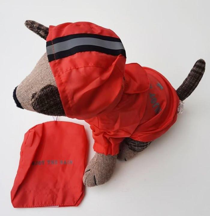 Piros tárolózsákos kutyaesőkabát 1