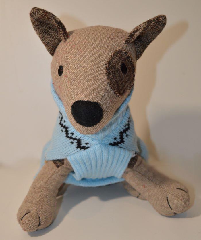 Rénszarvasos kék kötött kutyapulcsi kutyaruha 2