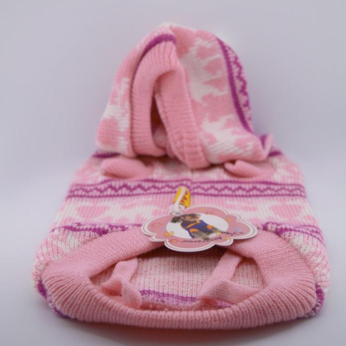 Rózsaszín kislányos kötött kutyapulóver 1