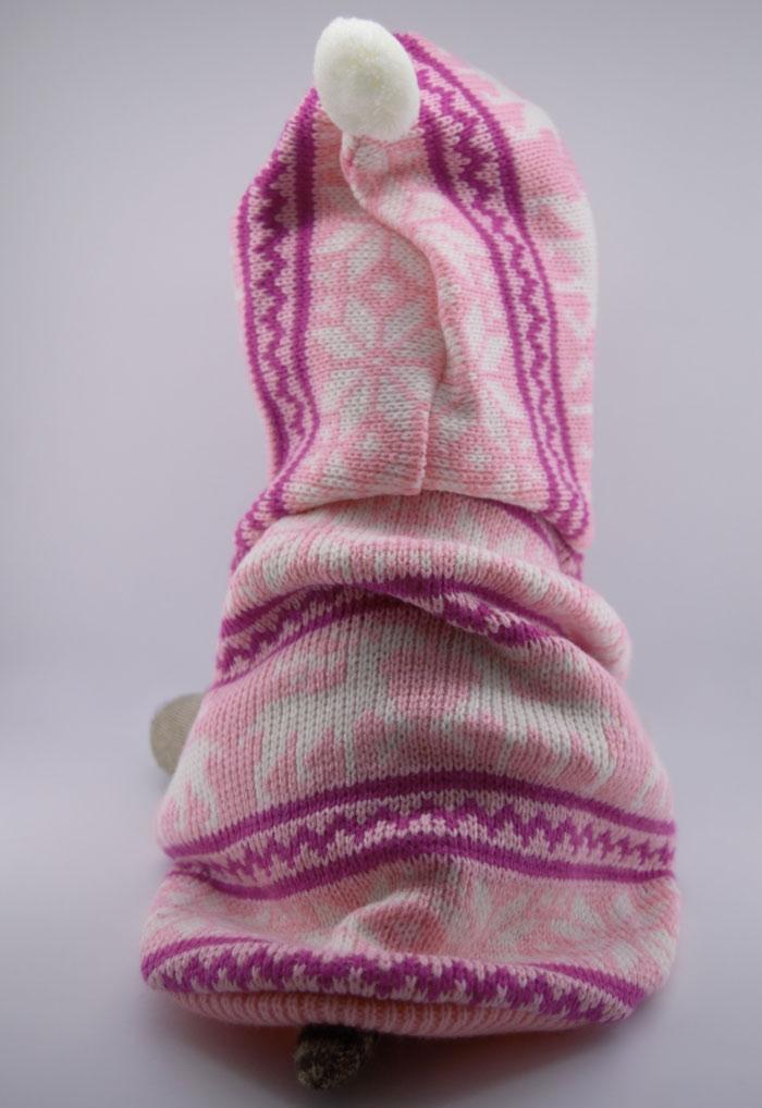 Rózsaszín kislányos kötött kutyapulóver 2