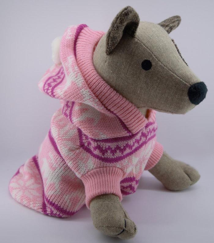 Rózsaszín kislányos kötött kutyapulóver 3