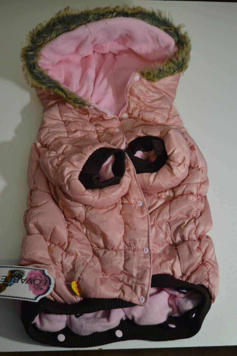 Rózsaszín pufi téli kutya overál és mellény 1