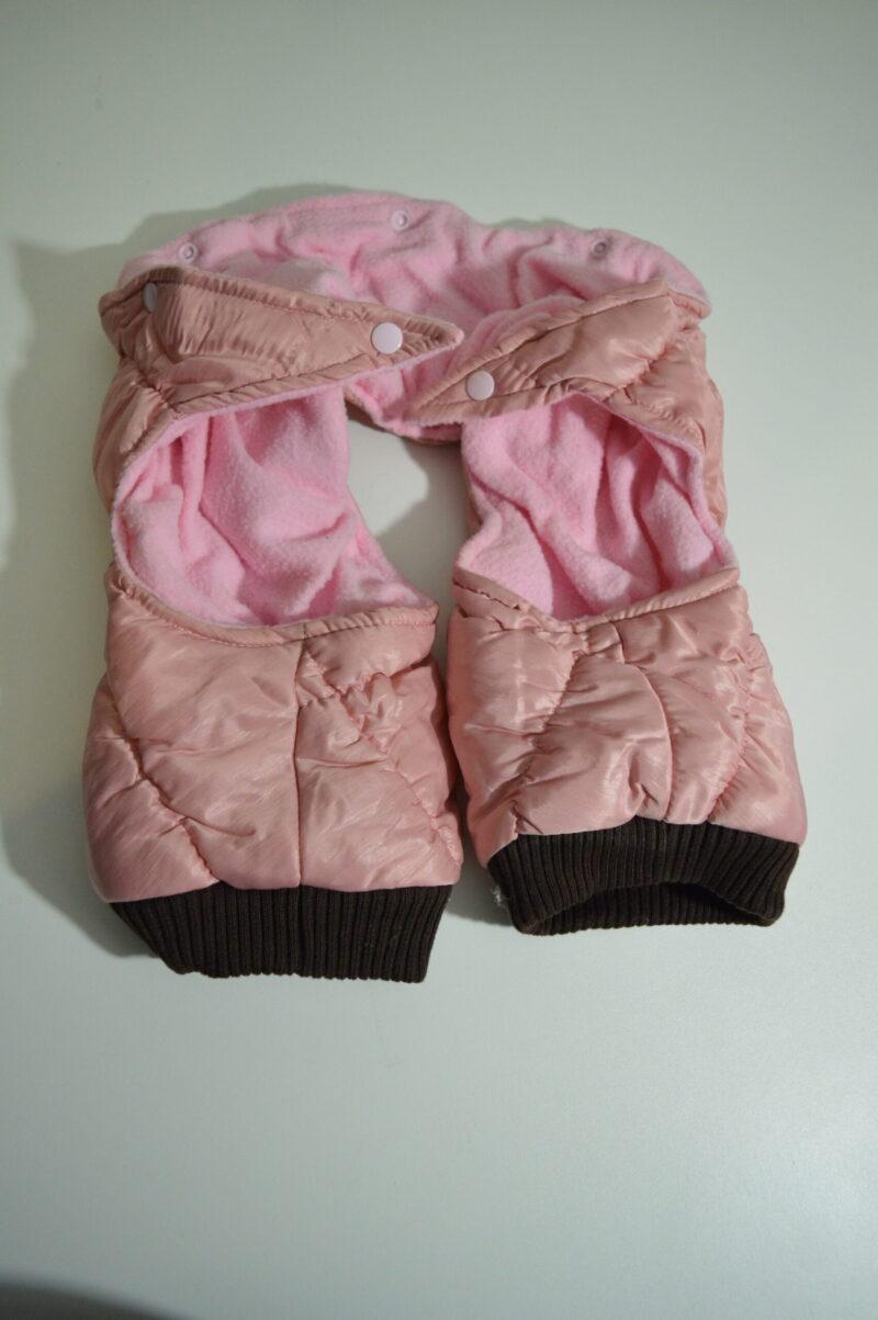 Rózsaszín pufi téli kutya overál és mellény 2
