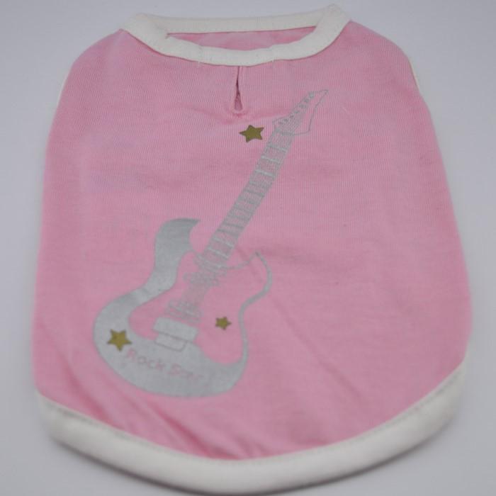 Rózsaszín rock star mintás kutya póló 1