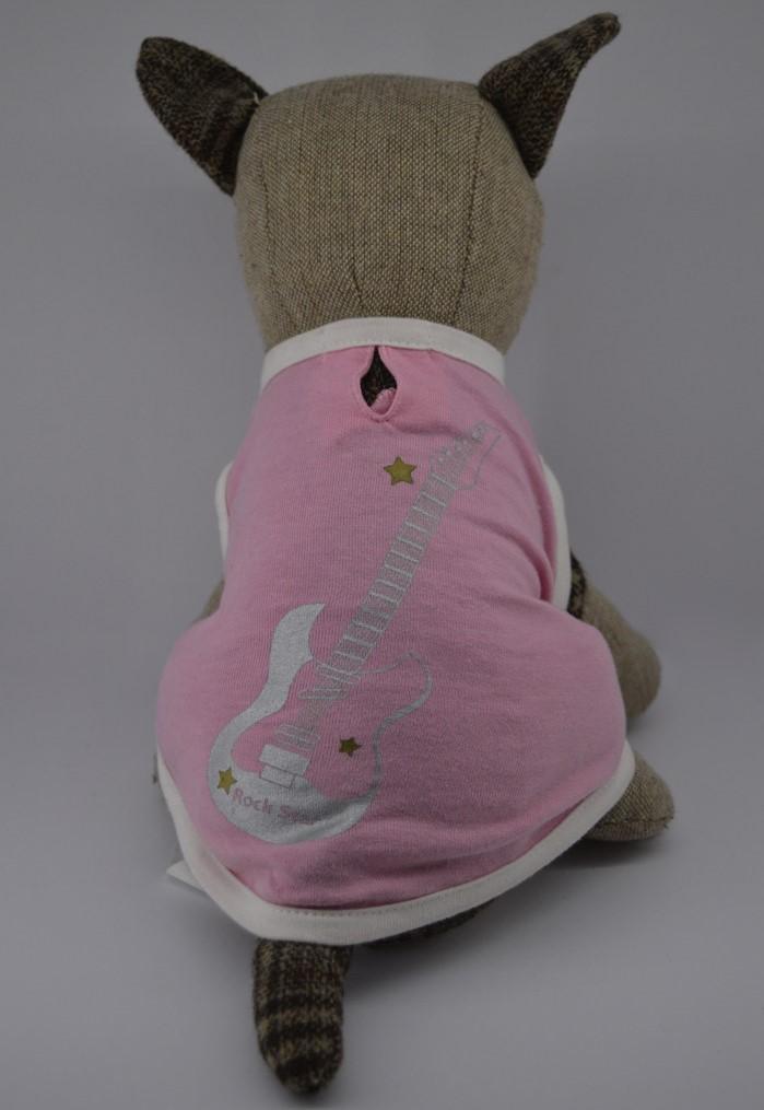 Rózsaszín rock star mintás kutya póló 3