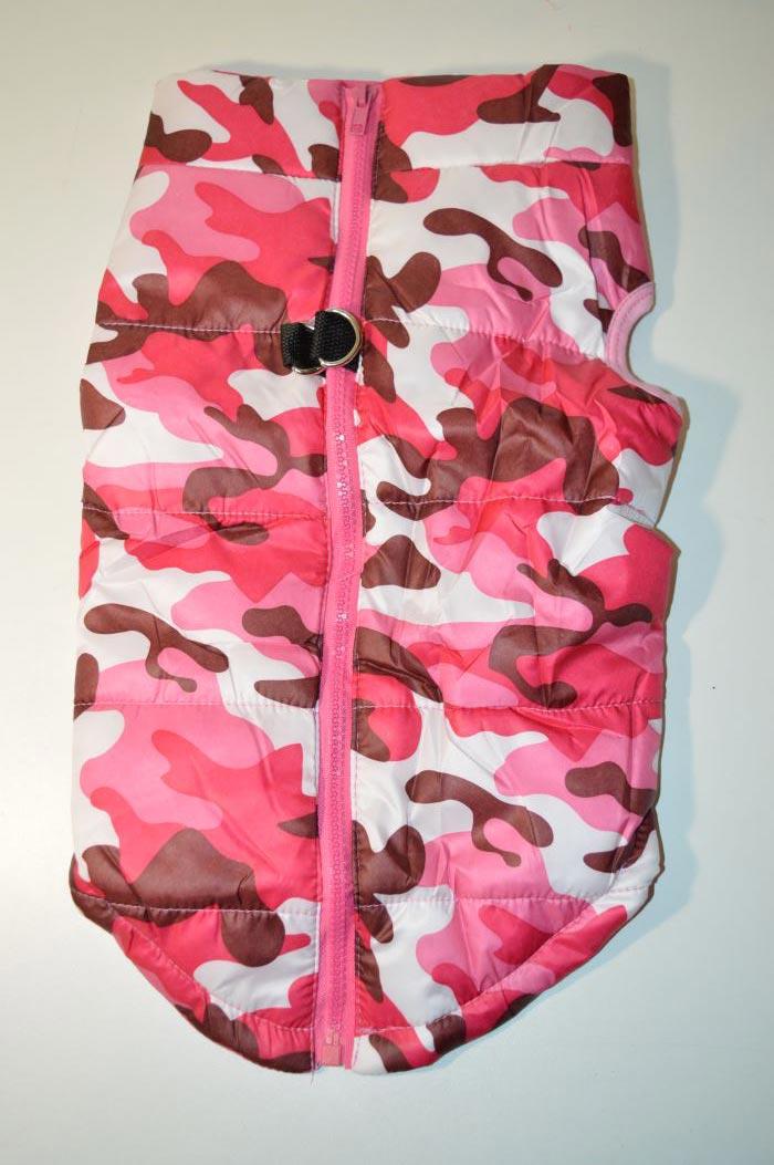 Rózsaszín terep mintás kutyamellény 2