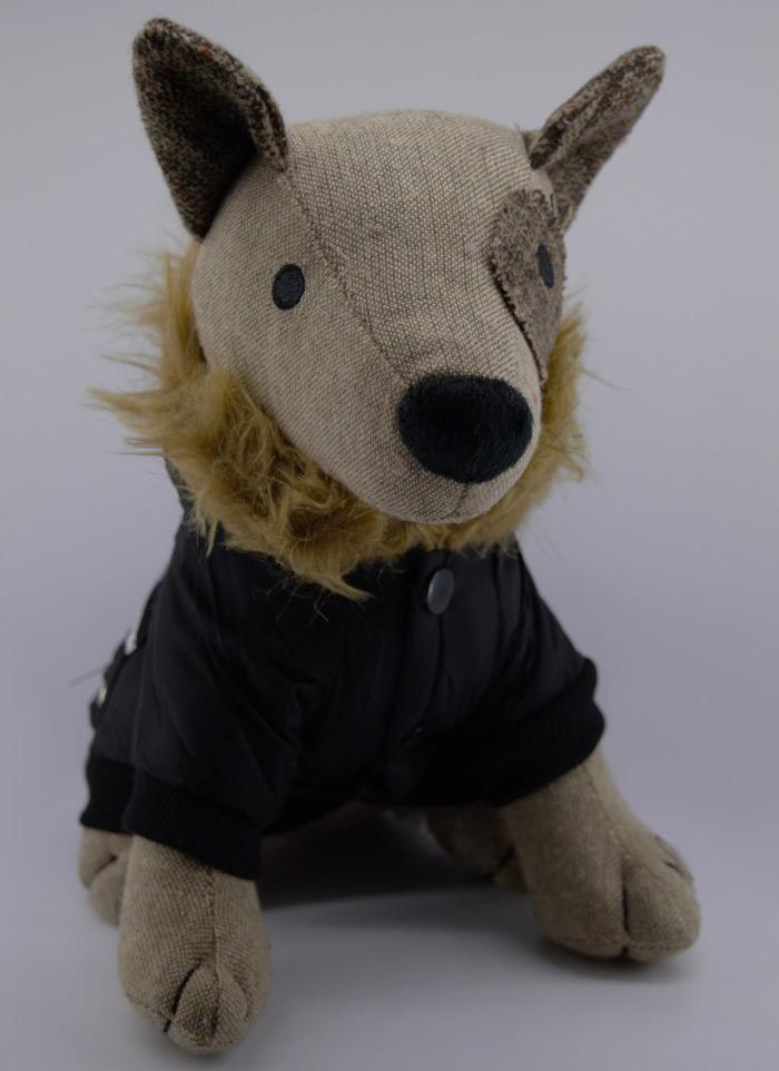 Szörmés fekete tavaszi kutyakabát 4